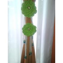 Sujeta Cortinas Flores Al Crochet