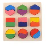 Rompecabezas Geométrico Didactico De Madera Piezas Colores