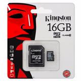 Memoria Kingston Micro Sd Hc 16gb Clase 10 Celular Cámara Pc
