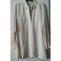 Camisa 100% Seda Manga Larga Color Natural, Marca St Michael