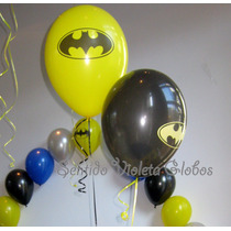 Globos De 12 Pulgadas Batman Amarillos Negros X 10 Unidades