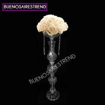 Centro De Mesa De Vidrio Arreglo Floral Con Caireles Eventos