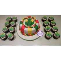 Promo! Torta Sapo Pepe De 2 Kg + 18 Cupcakes Temáticos