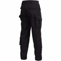 Pantalon Tactico Cargo Ripstop Policial Negro Y Azul 8 Bolsi