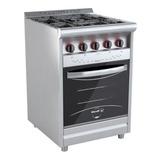 Cocina Industrial Morelli Country 600 4 Multigas Plateada Puerta Visor