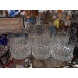 Antiguo Juego De Wisky Cristal 5 Vasos Hielera Inmaculados