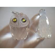 Swarovski Dos Figuras Cristal Con Faltantes Buho Pinguino