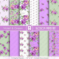 Kit Imprimible Violet & Green 12 Fondos. *promo*
