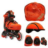 Rollers Rojo Kit Casco Protecciones Mochila Profesional