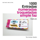 1000 Entradas 15x5 Simple Faz 180g Troqueladas Y Numeradas