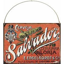 Cartel De Chapa Publicidad Antigua Cerveza Salvador M579