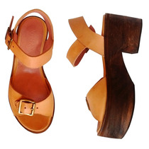 Zapatos Calzado Mujer Taco Sandalias Cuero Plataforma S16
