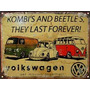 Cartel Chapa Publicidad Antigua Vw The Beetle Y Combi X257