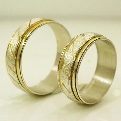 e454dd1aa1f5 Alianzas Casamiento Plata 925 Y Oro Anillos De Compromiso