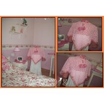 Ponco Tejido A Crochet Niña Chenille Color Rosa