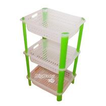 Organizador Canastos X3 Estantes Apilables Plastico Multiuso