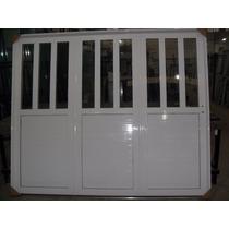 Porton Aluminio Blanco 3 Hojas De Abrir Manual 240*200