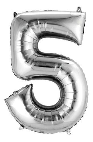 Globos Metalizados Números Plateado - 32 Pulgadas - Lollipop