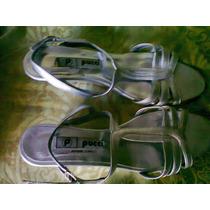 Sandalias Plateadas Taco Chino -numero 37¡¡divinas¡¡
