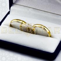 Combo Alianzas Plata 950 Y Oro 18k Casamiento Cintillo Boda