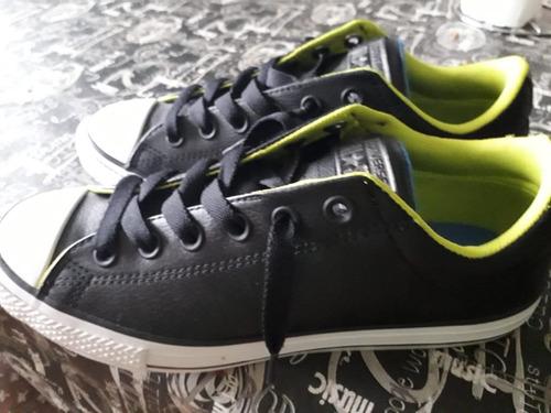 3257888f629 Zapatillas Converse All Star Negra De Cuero