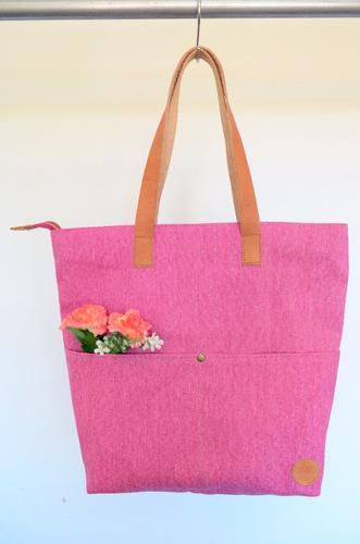 609906a41 Cartera De Tela Y Cuero Bolso Xl Tote Bag Chela Showroom