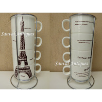 Juego De 4 Tazas De Cafe Porcelana C/soporte Diseños Vintage
