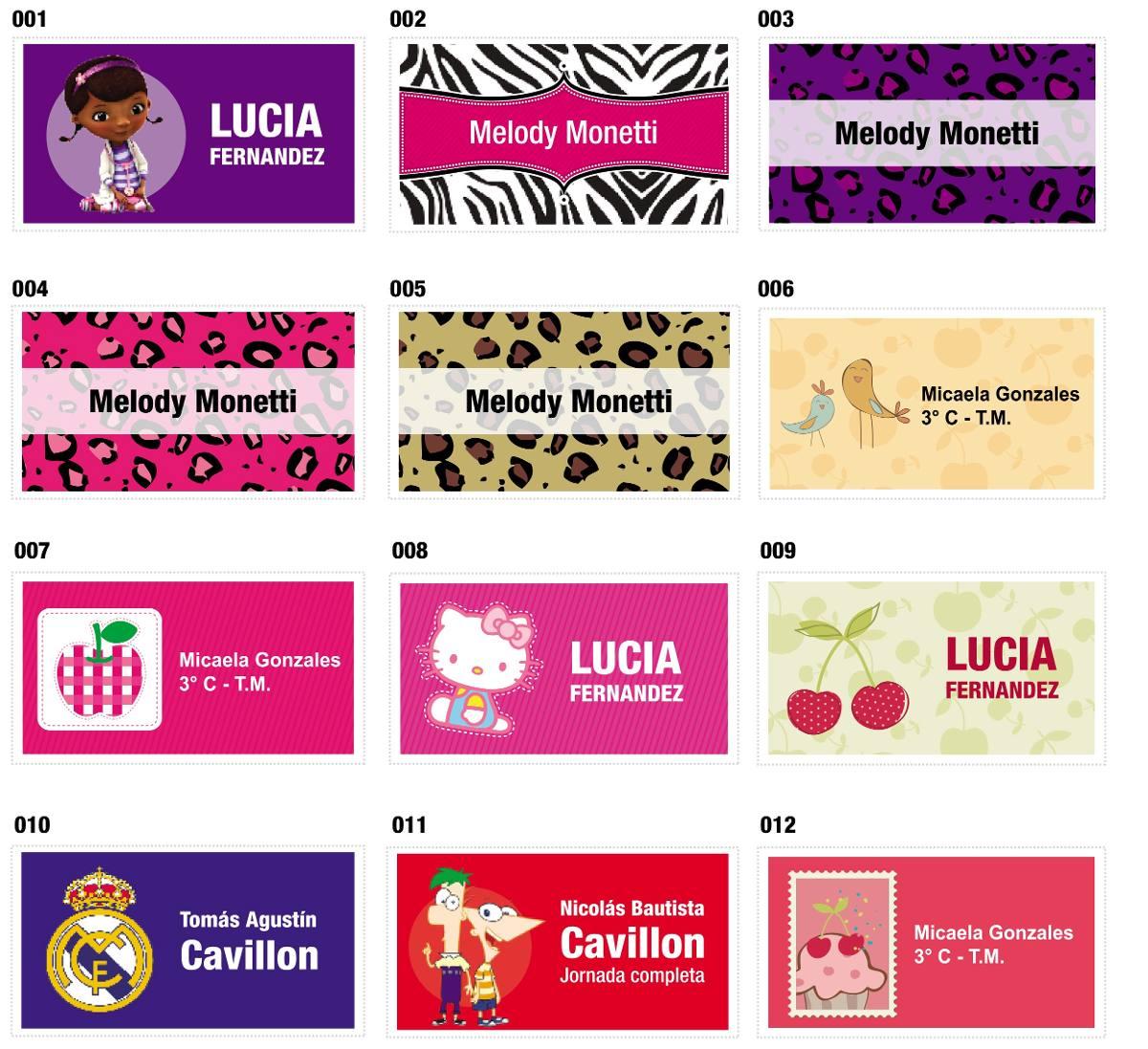 96 Stickers / Etiquetas Autoadhesivas Para Útiles Escolares ...