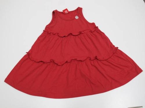 569b24612 Vestido De Algodón Rojo C/ Volados Grisino Talle 6 Para Nena