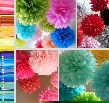 Pompones y banderines de papel de seda para decorar for Papel de pared argentina