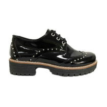 Zapato Mujer Abotinado Charol Negro Tachas Liquidacion!!