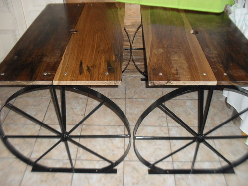 Mesa para exterior rustica estilo campo en hierro y madera for Hacer mesa de madera rustica