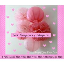 Pack Pompones Y Lamparas De Papel