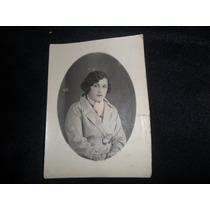 Antigua Fotografia Foto Oval Mujer Señora Sobretodo Vestido