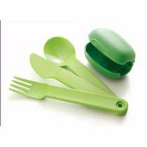 Porta Cubiertos Tupperware Con Cubiertos Verde