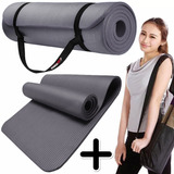 Mat Yoga 10 Mm Colchoneta Pilates Caucho Nbr 180x62 + Bolso