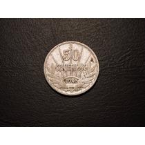 Uruguay Moneda De 50 Centésimos O Centavos De Plata Año 1943