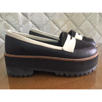 Zapatos Pepe Cantero 38 Negro Blanco Plataforma Piel