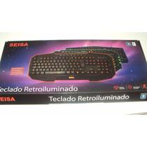 Teclado Retroiluminado Gamer Seisa Dn-v370 Luz En Azul
