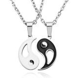 Conjunto Collar Distancia Dije Yin Yang - Hombre Mujer Acero