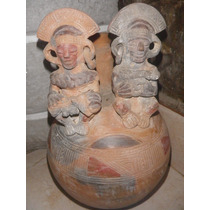 Importante Pieza De Ceramica Diseño Azteca Tinaja