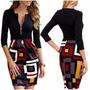 Vestido Vestir Corto Lycra Negro Falda Multicolor Importado