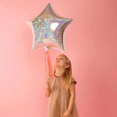 Globo Estrella Hologramada 45cm Cotillon Evento Cumpleaños