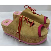 Sandalia Plataforma Corcho 6cm Gamuza Crudo Suela Goma Fuxia