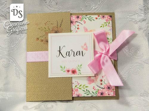 Tarjetas Invitaciones 15 Años Flores Kraft 77 En Melinterest