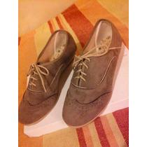 Zapatos De Gamuza Marrón Casi Musgo Con Cordones Y Taco Bajo