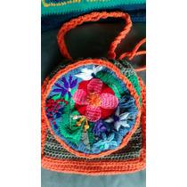 Cartera Tejido Crochet Y Bordado Mejicano