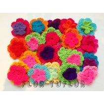 Flores Dobles Tejidas Al Crochet Aplique Ropa Deco Souvenirs