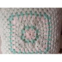 Almohadon Tejido A Mano A Crochet 33 * 33 Cm Verde Agua