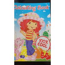 Souvenirs Libro Para Pintar+stickers Infantil Frutillita X10